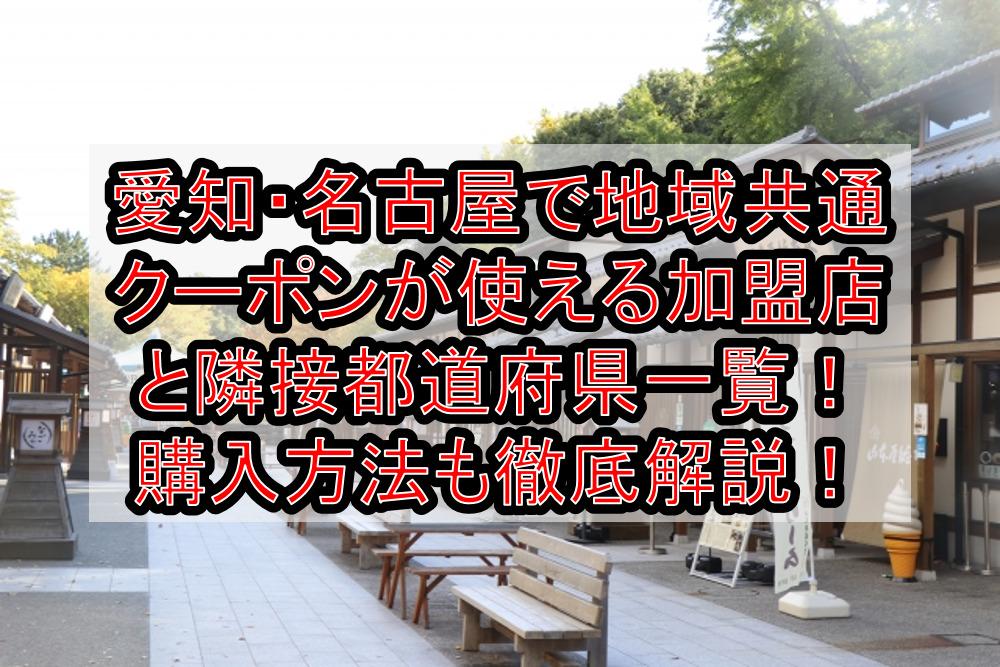 愛知・名古屋で地域共通クーポンが使える加盟店と隣接都道府県一覧!購入方法も徹底解説!