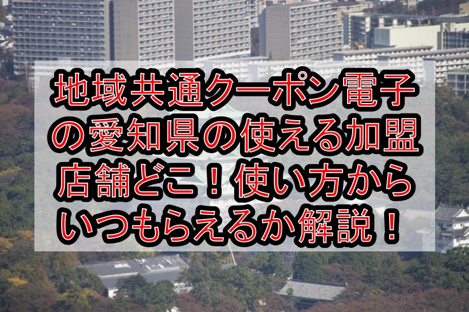 地域共通クーポン電子の愛知県・名古屋の使える加盟店舗どこ!使い方からいつもらえるか解説!