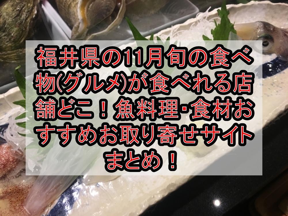 福井県の11月旬の食べ物(グルメ)が食べれる店舗どこ!魚料理・食材おすすめお取り寄せサイトまとめ!