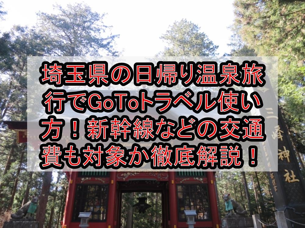埼玉県の日帰り温泉旅行でGoToトラベル使い方!新幹線などの交通費も対象か徹底解説!