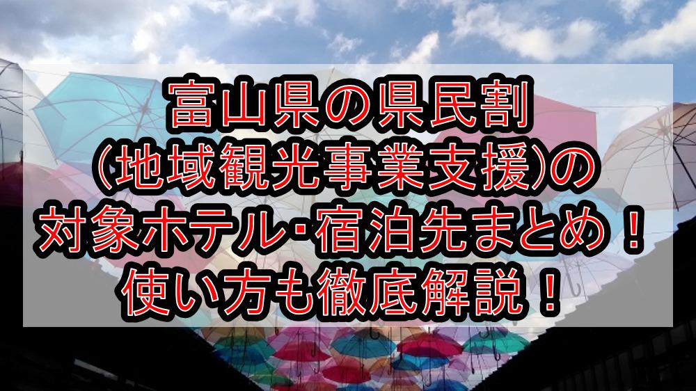 富山県の県民割(地域観光事業支援)の対象ホテル・宿泊先まとめ!GoTo代替で使い方も徹底解説!